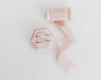 Roseate Pink Hexagon Velvet Ring Box & Silk Ribbon on Wooden Spool Set Wedding Photography Flatlay Styling Kit Blush