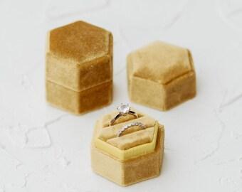 Oro Hexagon Velvet Ring Box, Ring Box Double Slot, Flat Lay Styling Kit, Props, Yellow gold