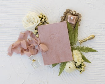 Velvet Vow Book with Silk Ribbon, Wedding Photography Flat Lay Styling, Wedding Heirloom, Roseate Pink