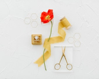 Flat Lay Styling Kit for Photographers Props, Oro Gold Square Ring Box, Gold Scissors, Silk Ribbon, Hexagon Honeycomb