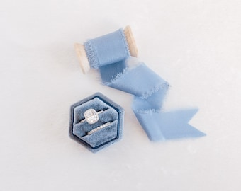 Sea Blue Hexagon Velvet Ring Box & Silk Ribbon on Wooden Spool Set Wedding Photography Flat Lay Styling Kit