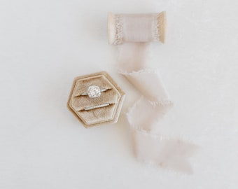 Latte Beige Hexagon Velvet Ring Box & Silk Ribbon on Wooden Spool Set Wedding Photography Flatlay Styling Kit Blush