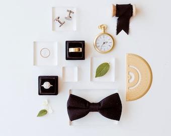 Flat Lay Styling Kit for Photographers, Props, Black Velvet Ring Box, Silk Ribbon,  pocket watch