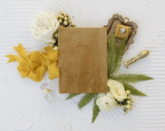 Velvet Vow Book with Silk Ribbon, Wedding Photography Flat Lay Styling, Wedding Heirloom, Oro Gold