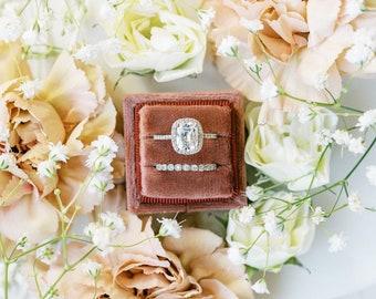 Dark Mauve Pink Square Velvet Ring Box Double Slot Wedding Photography Flatlay Styling Kit Engagement Gift