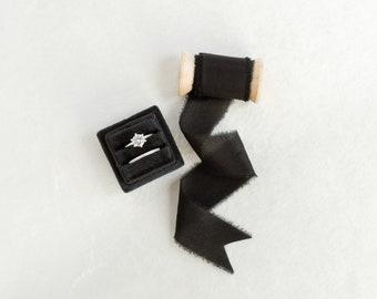 Raven Black Velvet Ring Box & Silk Ribbon on Wooden Spool Set Wedding Photography Flatlay Styling Kit