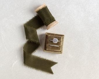 Forest Green Velvet Ring Box & Silk Ribbon on Wooden Spool Set Wedding Photography Flatlay Styling Kit