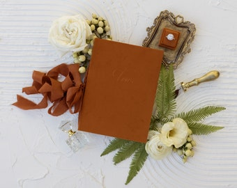 Velvet Vow Book with Silk Ribbon, Wedding Photography Flat Lay Styling, Wedding Heirloom, Oriole, Terracotta Orange