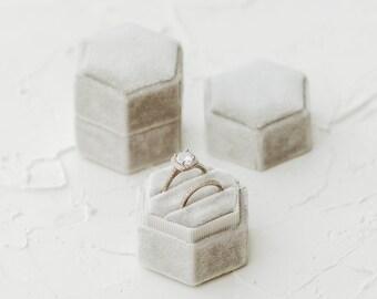Velvet Gray Hexagon Wedding Ring Box