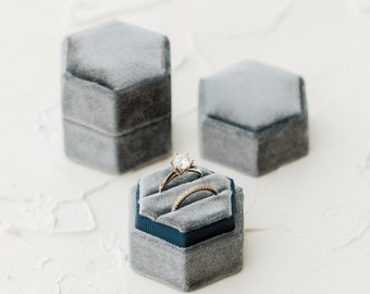 Sea Blue Hexagon Velvet Ring Box Double Slot Wedding Photography Flatlay Props Dusty