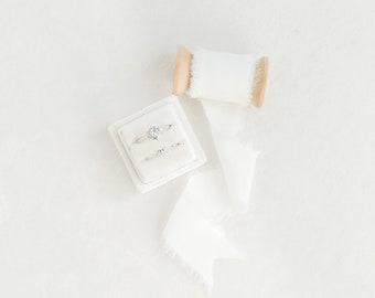 Dove White Velvet Ring Box & Silk Ribbon on Wooden Spool Set Wedding Photography Flatlay Styling Kit