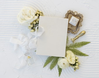 Velvet Vow Book with Silk Ribbon, Wedding Photography Flat Lay Styling, Wedding Heirloom, Dove