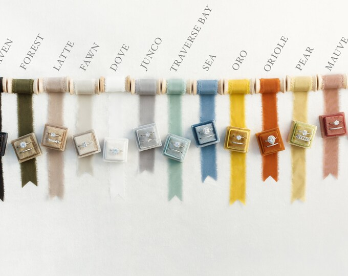Featured listing image: Velvet Ring Box & Silk Ribbon on Wooden Spool Set, Wedding Photography Flatlay Styling Kit