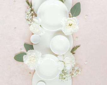 Large - White Nesting Plates, Flat Lay Styling Kit, Ring Dish, Wedding Photographer Props