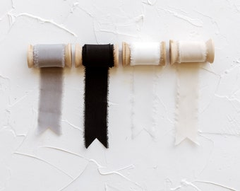 Set of 4 Nuetral Hues Frayed Edge Silk Ribbon with Wooden Spool Flat Lay Styling Ribbon white beige black gray