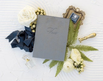 Velvet Vow Book with Silk Ribbon, Wedding Photography Flat Lay Styling, Wedding Heirloom Sea Blue