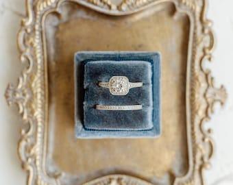 Sea Blue Square Velvet Ring Box Double Slot Wedding Photography Flatlay Props Dusty Navy