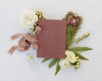 Velvet Vow Book with Silk Ribbon, Wedding Photography Flat Lay Styling, Wedding Heirloom, Mauve