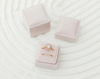 Flamingo Pink Square Velvet Ring Box