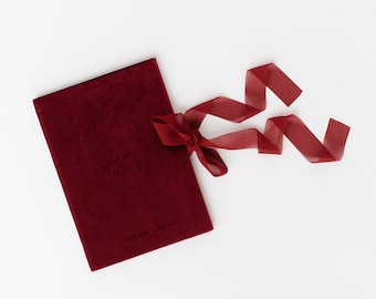 Velvet Vow Book Red with Ribbon Wedding Photography Flat Lay Styling Prop