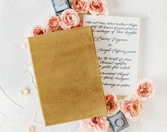 Velvet Vow Book Gold with Ribbon Wedding Photographer Flat Lay Styling Props