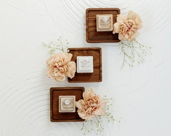 3 Ring Box Set - Square Nuetrals Velvet Ring Box Set  Wedding Photography Flat Lay Styling Props
