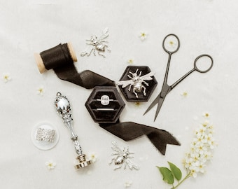 Flat Lay Styling Kit for Photographers Props, Raven Black Hexagon Ring Box, Silver Wax Seal Stamp Handle, Silver Scissors, Silver Bee Set