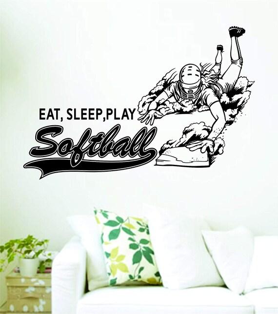 EAT SLEEP SOFTBALL VINYL STICKER