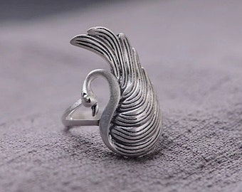 RING S925 Silver retro Swan the glorious new day resizable ring open ring birthday gift vintage gift S140