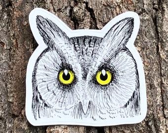 Owl Vinyl Sticker   Laptop Sticker   Water Bottle Sticker   Bird Sticker   Owl Lover Gift   Bird Decal