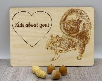 Nuts About You Squirrel Card   Handmade Card   Squirrel Keepsake Card   Romantic Card   Wood Card