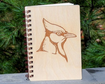 Blue Jay Journal   Wood Engraved Journal   Writing Journal   Nature Journal   Bird Journal