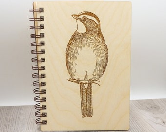 White Throated Sparrow Journal   Sparrow Wood Lined Art Notebook   Sparrow Lover Gift   Writing Journal
