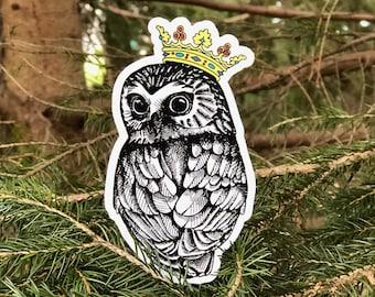 Owl Queen Vinyl Sticker   Laptop Sticker   Water Bottle Sticker   Bird Sticker   Cute Owl Sticker   Bird Decal