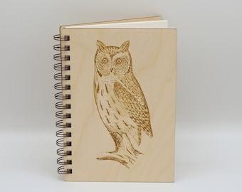 Screech Owl Journal   Bird Journal   Wooden Notebook   Writing Journal   Owl Lover Gift