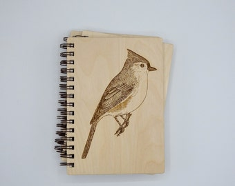 Tufted Titmouse Journal   Wood Engraved Journal   Writing Journal   Nature Journal