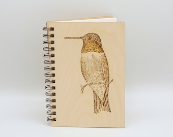 Ruby-throated Hummingbird Journal   Hummingbird Wood Lined Art Notebook   Wood Engraved Journal   Writing Journal   Bird Lover Gift