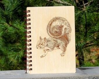 Wood Engraved Squirrel Journal   Cute Animal Journal   Cute Squirrel   Handmade Journal   Squirrel Lovers Gift   Wood Journal