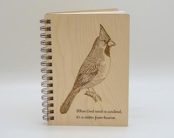 Cardinal Journal   Birdwatching Wood Lined Art Notebook    Cardinal Lover Gift   Writing Journal
