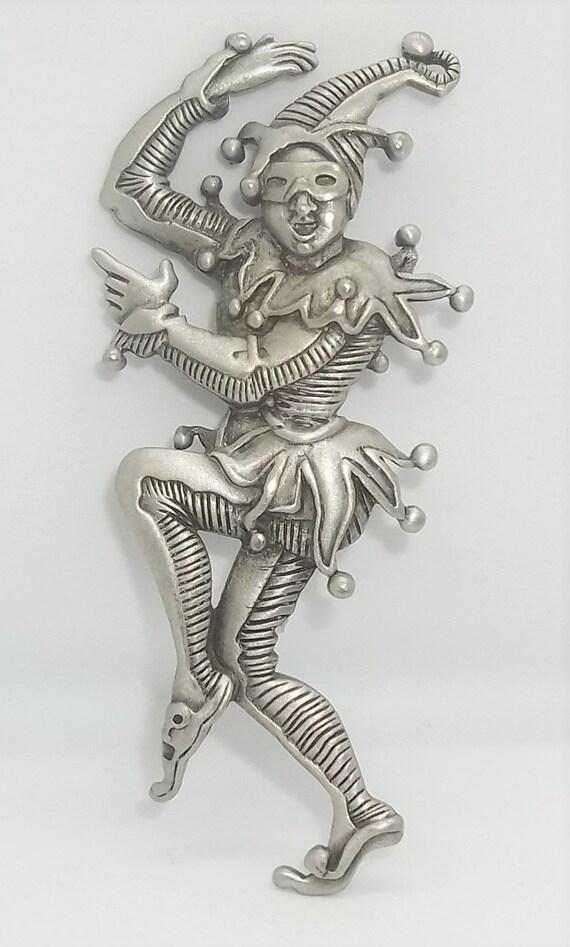 JJ Jester pin vintage pewter clown brooch Jonette