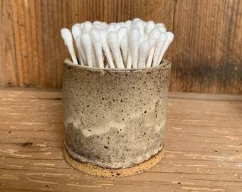 Cotton Swab Q-tip Holder, Ceramic Handmade Pottery, Bathroom Counter Dish, Decorative Bowl