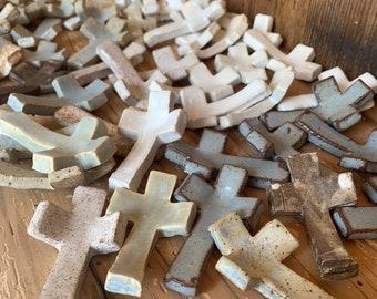 5 Ceramic Thumbprint Prayer Crosses,  Handmade Pottery