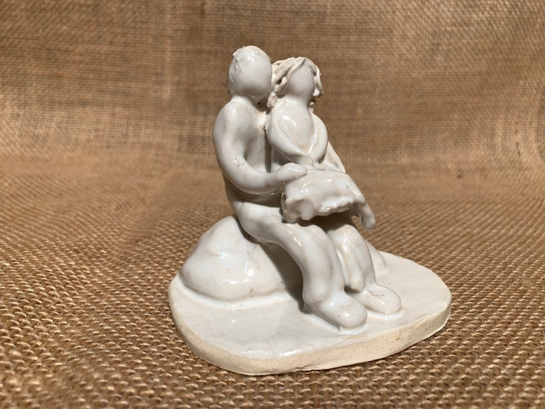 Father and Daughter Ceramic Pottery Figurine Parent and Child Sitting Handmade