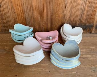 Ceramic Heart shaped tea bag holder, handmade pottery