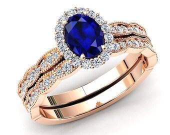 Wedding Ring Set September Birthstone Engagement Promise Ring Anniversary Gift Pear Sapphire Ring Set 14K Yellow Gold Vermeil Ring Set