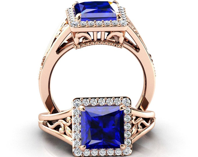 Art Deco Blue Sapphire Engagement Ring Princess Cut Sapphire Filigree Wedding Ring for Women Rose Gold Blue Sapphire Bridal Anniversary Ring