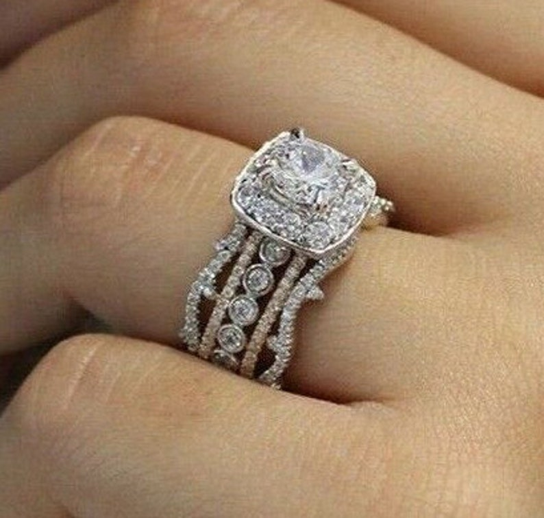 Stunning 3 Pieces Zircon Engagement Ring Set Art Deco Halo Cz Wedding Ring Set Silver Zircon Stacking Ring Set 925 Round Cut Halo Ring Set