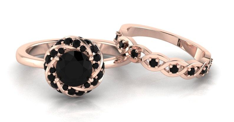 Black Onyx Engagement Ring Set Black Onyx Stacking Ring Black Onyx Wedding Ring Set Black Engagement Ring Black Onyx Bridal Promise Ring Set