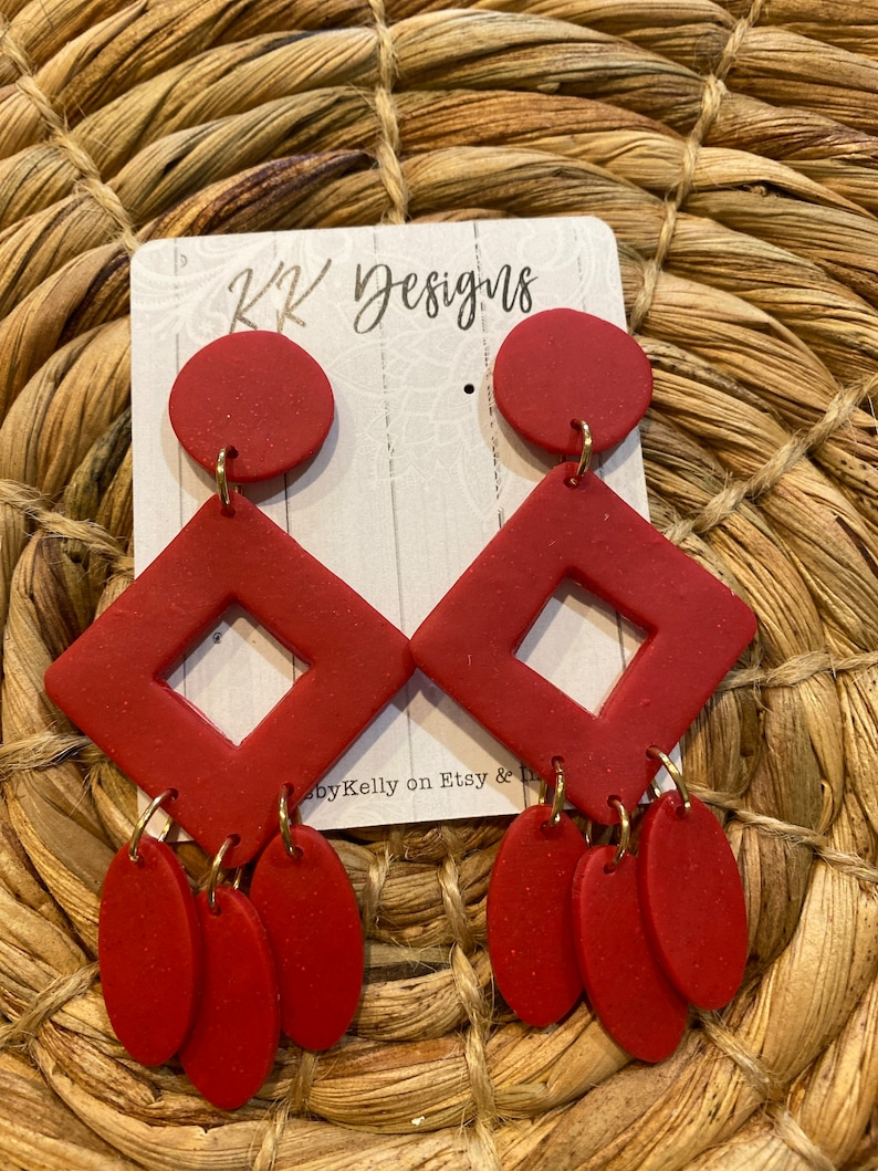 Unique Handmade Polymer Clay Statement Earrings Red Stacked Dangles-Super cute and literally lightweight!