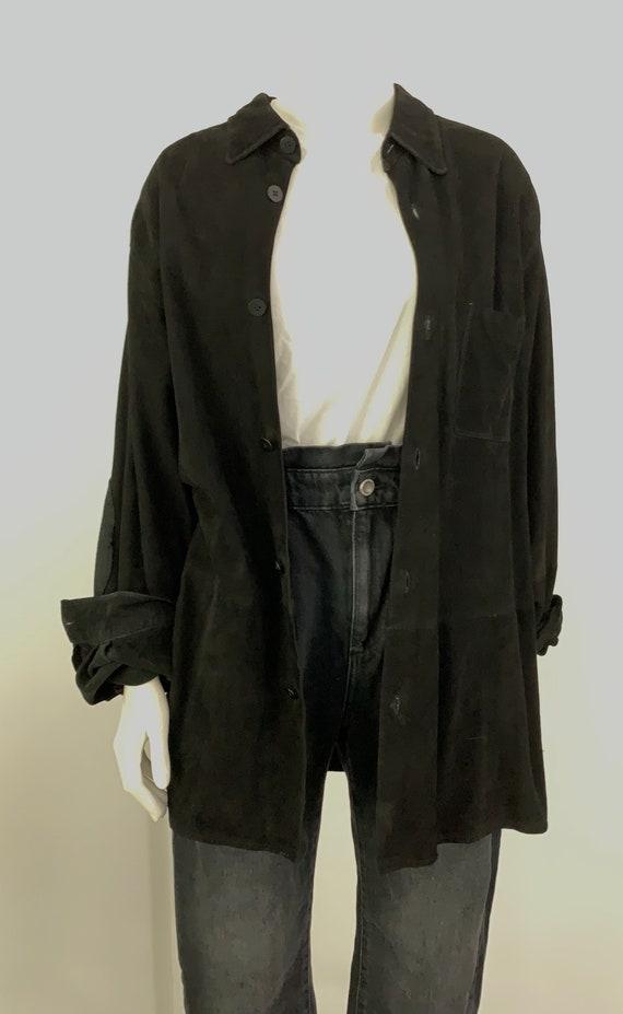 Vintage Black Leather/Suede Shirt Jacket